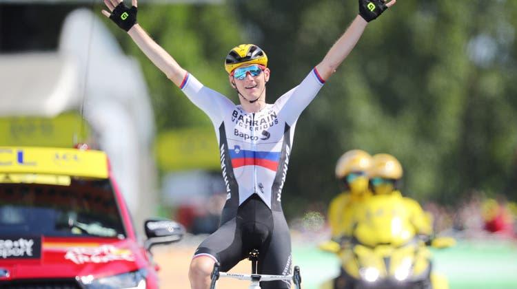 Matej Mohoricfuhr seinen zweiten Tour-Etappensieg in diesem Jahr ein. (Keystone)