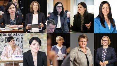 Wie oft werden sie in der Septembersession zu Wort kommen? Fraktionspräsidentin Bettina Surber (SP), Kantonsrätin Sonja Lüthi (GLP), Kantonsrätin Yvonne Suter (CVP), Regierungsrätin Laura Bucher (SP), Kantonsrätin Andrea Abderhalden (FDP, oben von links), Regierungsrätin Susanne Hartmann (CVP), die Kantonsrätinnen Isabel Schorer (FDP), Margot Benz (Grüne), Ursula Egli (SVP) und Kantonsratspräsidentin Claudia Martin (SVP). (Bilder: Tagblatt/Regina Kühne/PD)