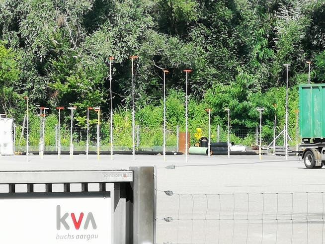 Die KVA Buchs plant eine Produktionsanlage für Wasserstoff. Hier sind die Bauprofile zu sehen.