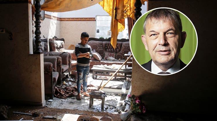 Ein Junge in der zerstörten Stube seines Hauses. Während des Konfliktes gab es für die Bewohner Gazas keinen Rückzugsort. (Bild: Nurphoto)