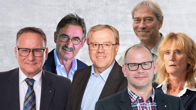 Werner Scherer, André Zoppi, Bruno Gretener, Marcel Lang, Urs Burkhard und Susanne Voserwollen nicht mehr in der Lokalpolitik tätig sein. (Montage AZ)