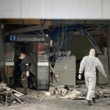 In der Nacht auf den Dienstag, 4. Mai 2021, haben Unbekannte einen Bancomaten der Aargauischen Kantonalbank in Nussbaumen gesprengt. (Bild: Pirmin Kramer/Badener Tagblatt)