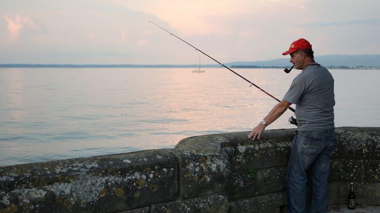 Wer wie hier vom Rorschacher Bodenseeufer aus mit der Fischerrute angelt, braucht kein Patent, muss sich aber an Vorschriften halten. (Bild: Benjamin Manser (Rorschach, August 2010))