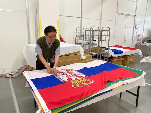 Tadamasa Fukiura cuida las banderas con pasión.