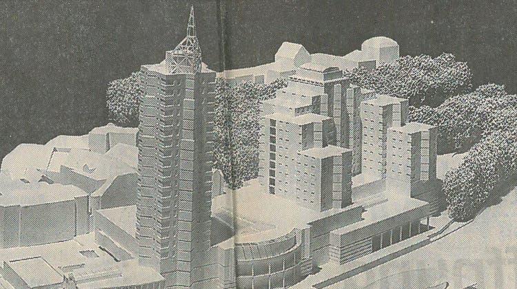 1995: Das Projekt «Riverfront» mit dem markanten Turm. (Visualisierung: AZ)