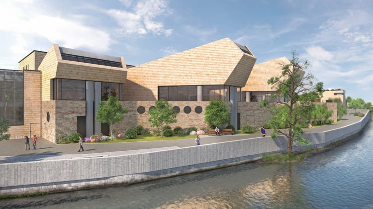 Architekt Mario Botta besucht im März 2021 die Bäder-Baustelle. (Alex Spichale)