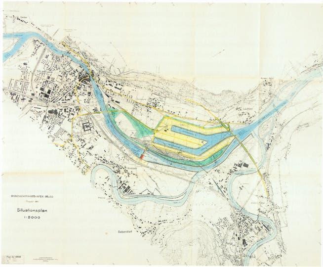 In der Planung von 1951/52 des Ingenieurbüros Aegerter/Bosshardt war für den Brugger Hafen das ganze Feld zwischen Lauffohr und Geissenschachen reserviert.