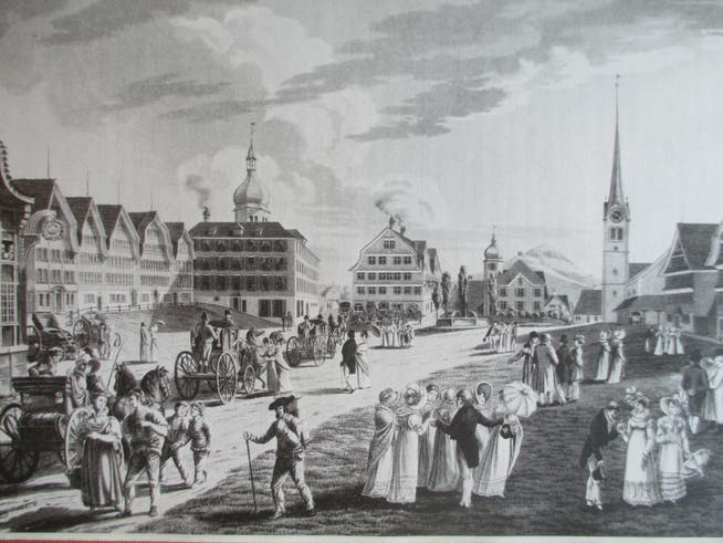 Illustration from 1800: The very lively village square is dominated by the Ochsen Kurpalast, which was built in 1796 and has a striking dome tower.
