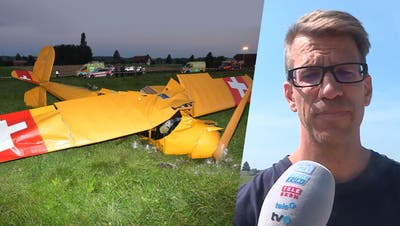 Die abgestürzte Bü-131 Jungmann und Augenzeuge Matthias Beutenmüller. (Kapo SO/TeleM1)
