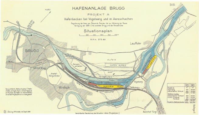 Projekt von Ingenieur Oskar Bosshardt, Basel, September 1935. Dieses sah zwei Hafenbecken in Vogelsang und im Windischer Schachen vor. Eine Erweiterungsmöglichkeit bestand im Aufeld.