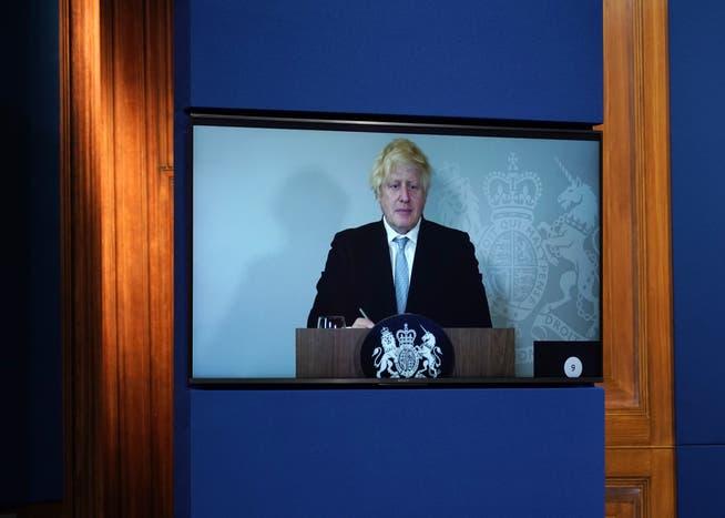 Hält sein Corona-Briefing aus dem Homeoffice ab: Premier Boris Johnson ist in Isolation.