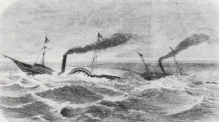Ein dramatisches, zeitgenössisches Bilddes Zusammenstosses der Dampfschiffe «Ludwig» und «Stadt Zürich» am 11. März 1861. (Bild:Sammlung Joseph Reinhard Weber)