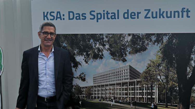 Im Kantonsspital Aarau laufen die Vorbereitungsarbeiten für die Realisierung des Neubaus Dreiklang. Im Bild Sergio Baumann, CEO ad interim. Stand 29. Juni 2021. (Urs Helbling)