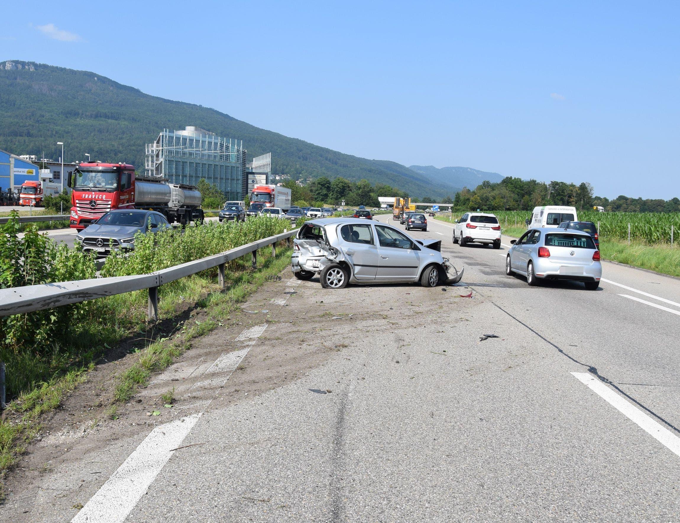 Auffahrunfall auf der A1 bei Oensingen.