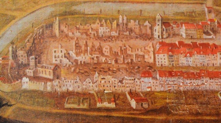 Ölbild der Stadt eines unbekannten Malers kurz nach dem ersten Stadtbrand von 1771: Der östliche Teil ist runtergebrannt. (Bild: PD/Schweizerisches Landesmuseum, Zürich)