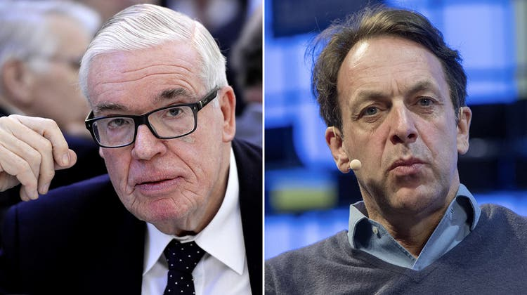 Klaus-Michael Kühne (links) steuert von Schindellegi SZ aus den Weltkonzern Kühne + Nagel.Klaus Hommels, der auch den Schweizer Pass hat, ist ein erfolgreicher Investor. (Bilder: Keystone, Getty)