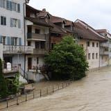 Hochwasser-Hotspot Mellingen während der Unwetter im Aargau. (Sarah Kunz)