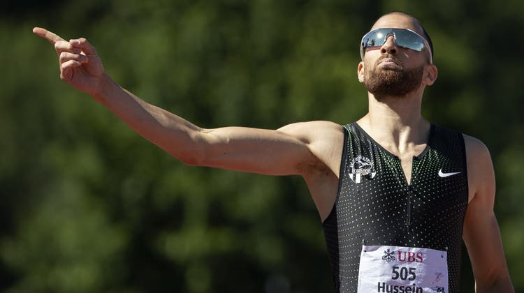 Nach seinem Finalsieg an der Schweizer Meisterschaft am 26. Juni in Langenthal war Kariem Hussein in Feierlaune. Diese ist ihm mit dem positiven Dopingbefunde nun vergangen. (Peter Klaunzer / KEYSTONE)