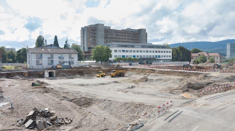 Die Baustelle beim Kantonsspital Aarau. (Michael Küng)