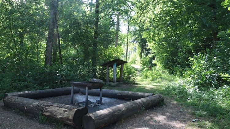 Die Grillstelle am Fitnesstrail im Gebiet Moos in Frick – die Geräte für den Trail werden derzeit gebaut. (Dennis Kalt (2. Juni 2020))