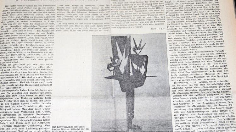 «Weniger schimpfen, mehr tun»: Gedanken zum 1. August vor 50 Jahren