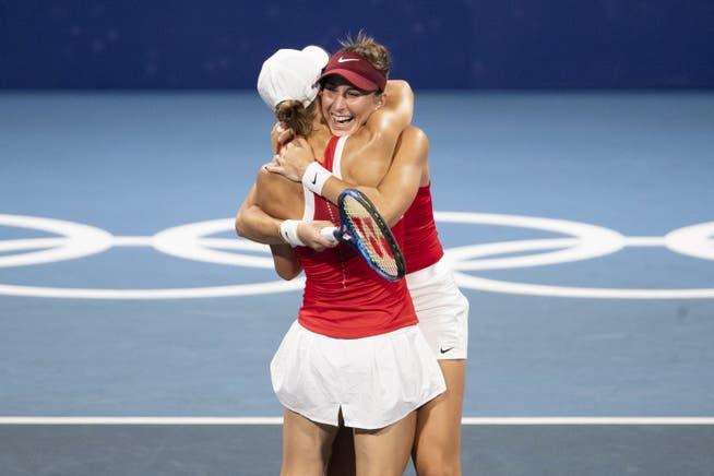 Auch im Doppel (mit Viktorija Golubic) spielt Belinda Bencic bei den Olympischen Spielen in Tokio um eine Medaille.