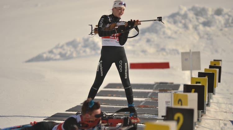 Biathletin Chiara Arnet in Aktion. (Bild: Urs Hanhart (Realp, 28. März 2021))