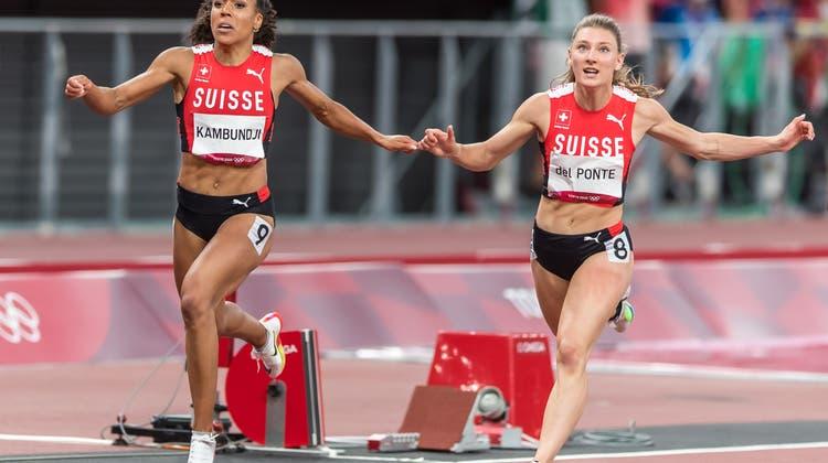 Ajla Del Ponte kommt im Olympiafinal als Fünfte zwei Hundertstelsekunden vorMujinga Kambundji ins Ziel. (Ulf Schiller / KEYSTONE)