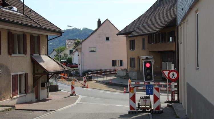 Die betroffene Baustelle an der Bruggerstrasse in Veltheim während den Bauarbeiten. (Janine Walthert)