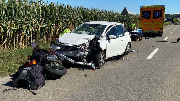 Der Unfall ereignete sich am 20. August des vergangenen Jahres. Die Lenkerin im Personenwagen übersah die Motorradfahrerin - mit fatalen Folgen. (Kapo)