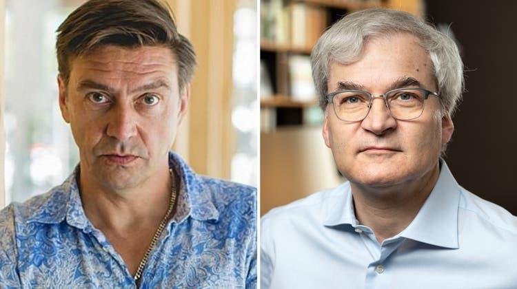 Online-Spezialist Peter Wälty (links) findet, dass ihm der «Nebelspalter» von Markus Somm Geld schuldet. (Persoenlich.com/Keystone)