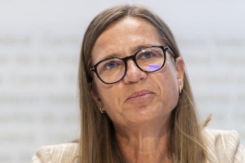 Virginie Masserey, Leiterin Sektion Infektionskontrolle, Bundesamt für Gesundheit (BAG) an einer Pressekonferenz.