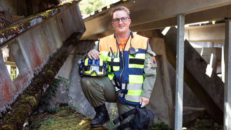 Pascale Gautschi ist die erste Frau, die freiwillig Einsatz bei der Zivilschutzorganisation Brugg Region leistet. (Bild: Britta Gut (2. Juli 2021))
