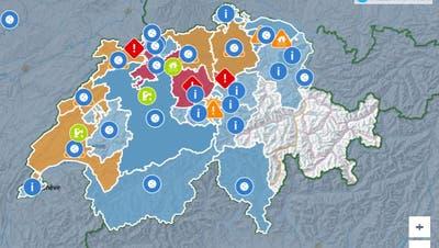Wie die Karte zeigt, war fast die ganze Schweiz von der Störung betroffen. (Screenshot Swiss Alert.)
