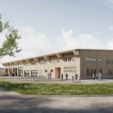 Die Visualisierung zeigt den geplanten Werkhof Birrfeld, der primär in Holzbauweise erstellt wird. (zvg)
