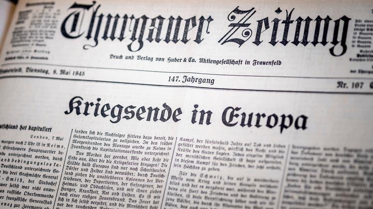 «Kriegsende im Europa» – eine denkwürdige Schlagzeile auf der Titelseite der «Thurgauer Zeitung» im Mai 1945. (Bild: Andrea Stalder)
