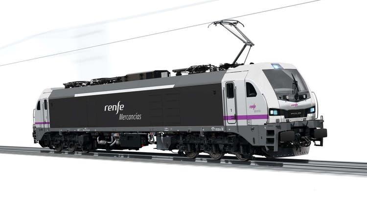 Visualisierung der geplanten sechsachsigen elektrischen Euro-6000-Lokomotive von Stadler für die spanische Renfe. (Bild: PD)