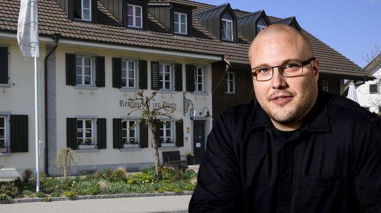 Das Restaurant «Pinte» in Baden-Dättwil bleibt trotz Konkurs geöffnet. (3. April 2019) (Bild: Alex Spichale)