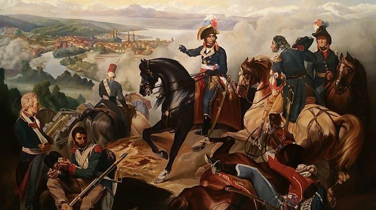 André Masséna und seine Truppen in der zweiten Schlacht um Zürich: Reproduktion des Ölgemäldes vonFrançois Bouchot aus dem Jahr 1837. Das Original hängt im Schloss Versailles. (zVg/Ortsmuseum Dietikon)