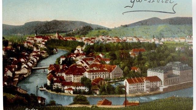 Trotz jahrhundertelanger Badetradition – hier eine Postkarte mit dem Grand Hotel ganz rechts – hat die Unesco die Stadt Baden nicht für ihre Weltkulturerbe-Liste berücksichtigt. (BT-Archiv)