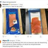 Grosse Erwartungen, kleiner Inhalt: Diese Lachs-Verpackung sorgt bei Migros-Kundin «Amarana» für Verärgerung. (Screenshot Twitter, Userin: Amarana)
