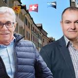 Dass Vizeammann Meinrad Schraner (links) gegen den amtierenden Ammann Herbert Weiss antritt, wirft in Laufenburg hohe Wellen. (Bild: nbo / Montage: AZ)