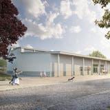 Visualisierung der neuen Mehrzweckhalle. Mit dem Projektierungskredit soll das Siegerprojekt «Chäferfäscht» zur Abstimmungsreife gebracht werden. (Bild: PD/Nightnurse Images)