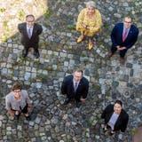 Der Thurgauer Regierungsrat mit Staatsschreiber Paul Roth (oben links). (Bild: Reto Martin)