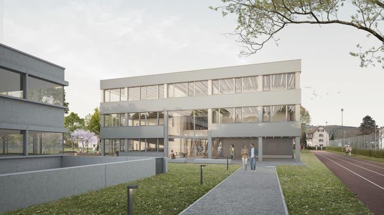 Der dreistöckige Neubau auf dem Rasenspielfeld südlich der heutigen Bez-Gebäude wird nicht realisiert (Visualisierung: Zvg)