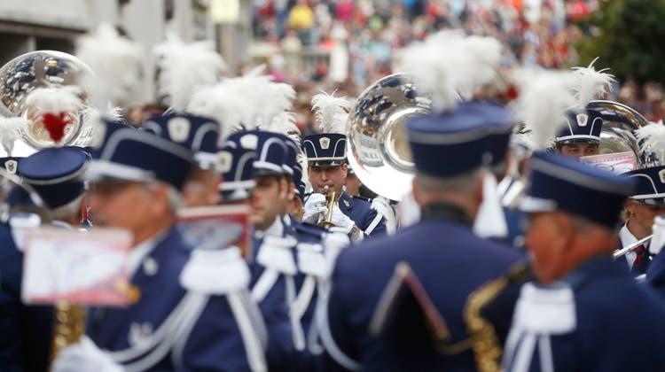 Der Musikverein Bubendorf anlässlich einer Marschmusikparade. (Hanspeter Bärtschi (Solothurn,22. September 2012))