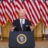 Der amerikanische Präsident Joe Biden verteidigte sich am Montag während einer Ansprache im Weissen Haus gegen Kritiker seiner Afghanistan-Politik. (Bild: Shawn Thew / EPA)