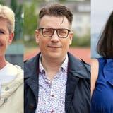 Stefanie Danner (parteilos, rechts) hat bis jetzt als einzige ihre Teilnahme am 2. Wahlgang am 26. September versichert. Monika Baumberger (FDP) und Patrik Kobler (Gewerbe) werden ihre Entscheidung in den nächsten Tagen fällen. (Bildmontage: rak)