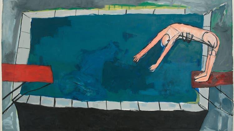 Vergnügliches oder gefährliches Bad? Monika Dillier, «Ohne Titel», 1986. Öl auf Nesselstoff, 190 x 320,5 cm, aktuell zu sehen in der Sammlung im Aargauer Kunsthaus. (Bild: Brigitt Lattmann/Aargauer Kunsthaus)
