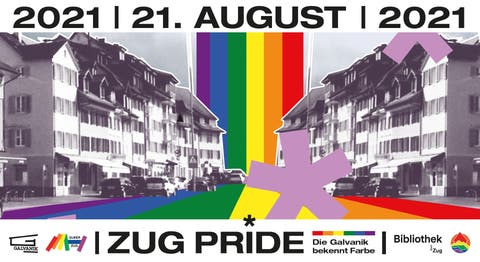 Mit diesem Flyer wird für die Zug Pride in der Galvanik geworben.